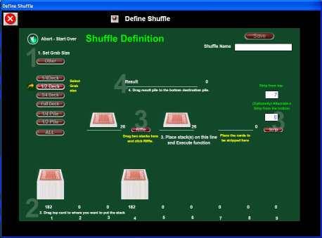 Shuffle definition screen